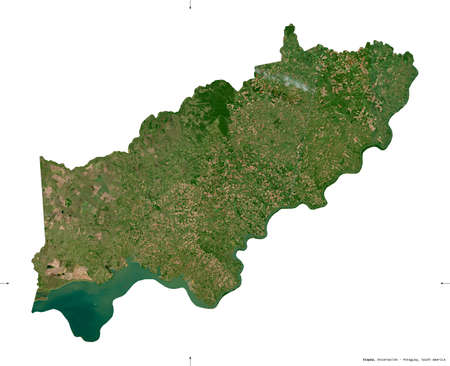 Itapua, department of Paraguay. Sentinel-2 satellite imagery. Shape isolated on white. Description, location of the capital. Contains modified Copernicus Sentinel data