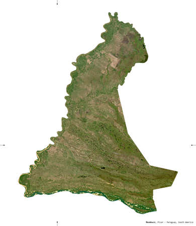 Neembucu, department of Paraguay. Sentinel-2 satellite imagery. Shape isolated on white. Description, location of the capital. Contains modified Copernicus Sentinel data