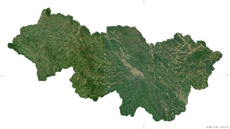 Cao Bang, province of Vietnam. Sentinel-2 satellite imagery. Shape isolated on white. Description, location of the capital. Contains modified Copernicus Sentinel data