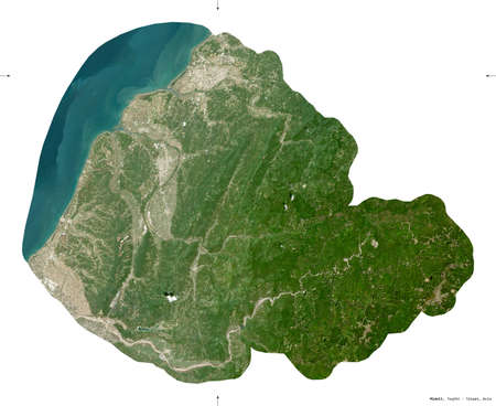 Miaoli, county of Taiwan. Sentinel-2 satellite imagery. Shape isolated on white. Description, location of the capital. Contains modified Copernicus Sentinel data