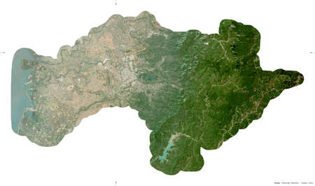 Chiayi, county of Taiwan. Sentinel-2 satellite imagery. Shape isolated on white. Description, location of the capital. Contains modified Copernicus Sentinel data