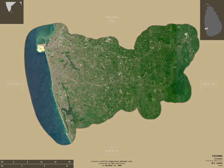 Colombo, district of Sri Lanka. Sentinel-2 satellite imagery. Shape isolated on solid background with informative overlays. Contains modified Copernicus Sentinel data Archivio Fotografico