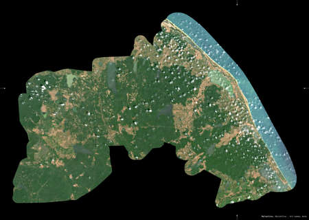 Mullaitivu, district of Sri Lanka. Sentinel-2 satellite imagery. Shape isolated on black. Description, location of the capital. Contains modified Copernicus Sentinel data Archivio Fotografico