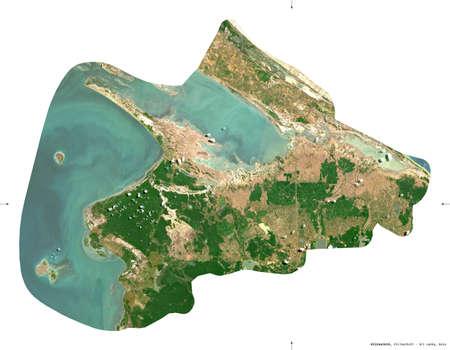 Kilinochchi, district of Sri Lanka. Sentinel-2 satellite imagery. Shape isolated on white. Description, location of the capital. Contains modified Copernicus Sentinel data Archivio Fotografico