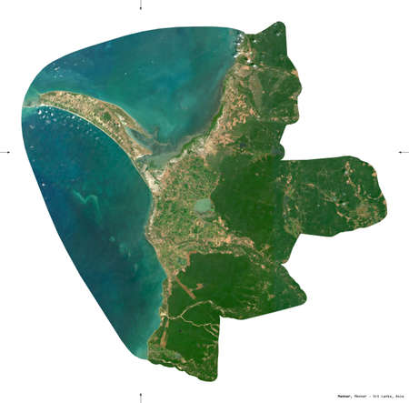 Mannar, district of Sri Lanka. Sentinel-2 satellite imagery. Shape isolated on white. Description, location of the capital. Contains modified Copernicus Sentinel data