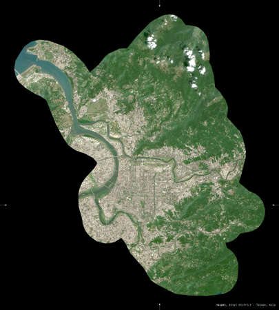 Taipei, special municipality of Taiwan. Sentinel-2 satellite imagery. Shape isolated on black. Description, location of the capital. Contains modified Copernicus Sentinel data Archivio Fotografico