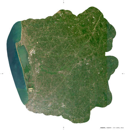 Gampaha, district of Sri Lanka. Sentinel-2 satellite imagery. Shape isolated on white. Description, location of the capital. Contains modified Copernicus Sentinel data Archivio Fotografico