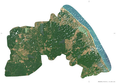 Mullaitivu, district of Sri Lanka. Sentinel-2 satellite imagery. Shape isolated on white. Description, location of the capital. Contains modified Copernicus Sentinel data Archivio Fotografico