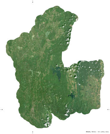 Matale, district of Sri Lanka. Sentinel-2 satellite imagery. Shape isolated on white. Description, location of the capital. Contains modified Copernicus Sentinel data