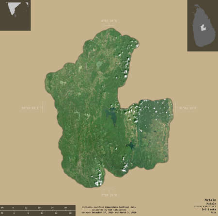 Matale, district of Sri Lanka. Sentinel-2 satellite imagery. Shape isolated on solid background with informative overlays. Contains modified Copernicus Sentinel data Archivio Fotografico