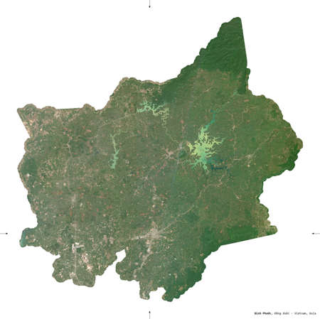 Binh Phuoc, province of Vietnam. Sentinel-2 satellite imagery. Shape isolated on white. Description, location of the capital. Contains modified Copernicus Sentinel data