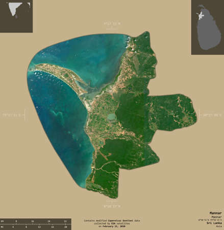 Mannar, district of Sri Lanka. Sentinel-2 satellite imagery. Shape isolated on solid background with informative overlays. Contains modified Copernicus Sentinel data Archivio Fotografico