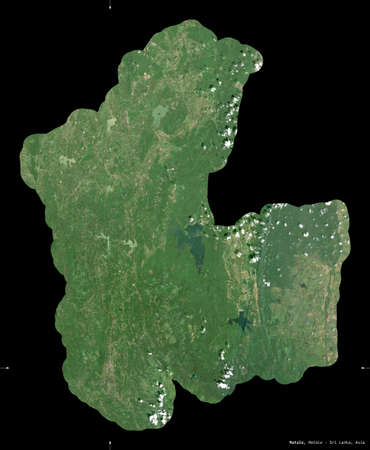 Matale, district of Sri Lanka. Sentinel-2 satellite imagery. Shape isolated on black. Description, location of the capital. Contains modified Copernicus Sentinel data