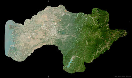 Chiayi, county of Taiwan. Sentinel-2 satellite imagery. Shape isolated on black. Description, location of the capital. Contains modified Copernicus Sentinel data