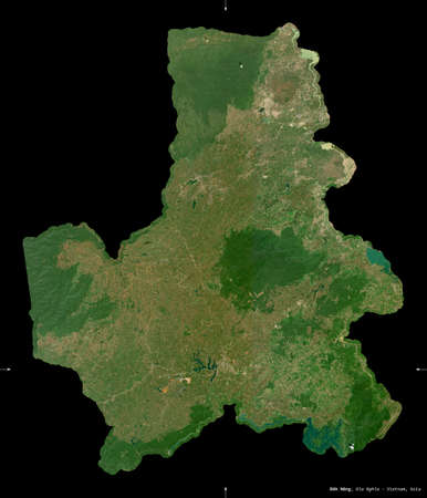 ak Nong, province of Vietnam. Sentinel-2 satellite imagery. Shape isolated on black. Description, location of the capital. Contains modified Copernicus Sentinel data