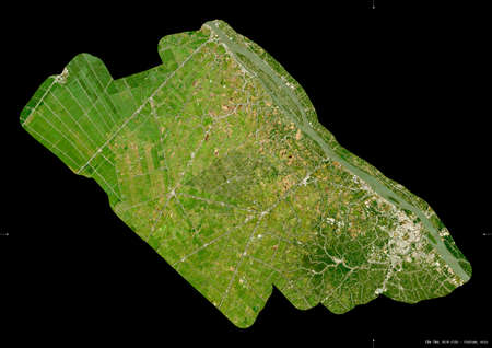 Can Tho, city|municipality|thanh pho of Vietnam. Sentinel-2 satellite imagery. Shape isolated on black. Description, location of the capital. Contains modified Copernicus Sentinel data Archivio Fotografico