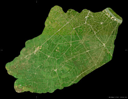 Hau Giang, province of Vietnam. Sentinel-2 satellite imagery. Shape isolated on black. Description, location of the capital. Contains modified Copernicus Sentinel data