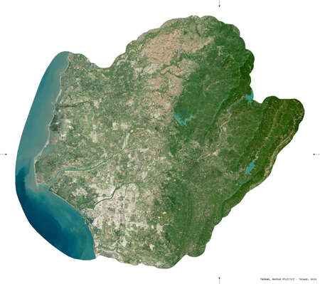 Tainan, special municipality of Taiwan. Sentinel-2 satellite imagery. Shape isolated on white. Description, location of the capital. Contains modified Copernicus Sentinel data