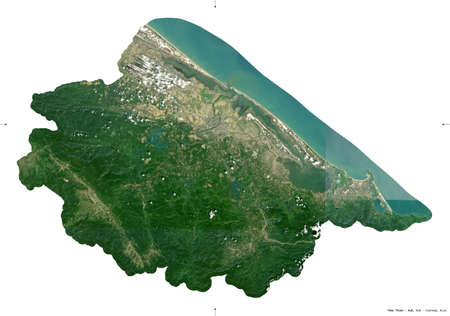 Thua Thien - Hue, province of Vietnam. Sentinel-2 satellite imagery. Shape isolated on white. Description, location of the capital. Contains modified Copernicus Sentinel data
