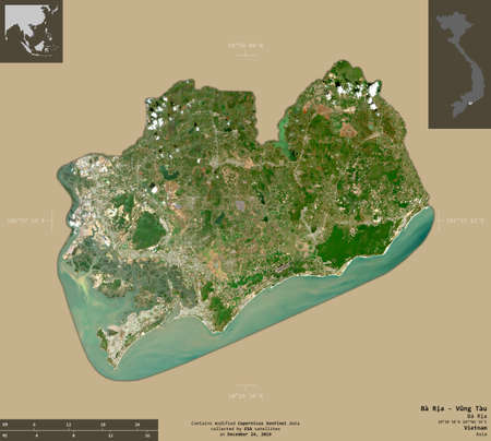 Ba Ria - Vung Tau, province of Vietnam. Sentinel-2 satellite imagery. Shape isolated on solid background with informative overlays. Contains modified Copernicus Sentinel data