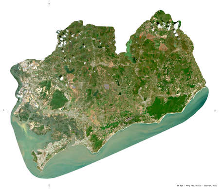 Ba Ria - Vung Tau, province of Vietnam. Sentinel-2 satellite imagery. Shape isolated on white. Description, location of the capital. Contains modified Copernicus Sentinel data Archivio Fotografico