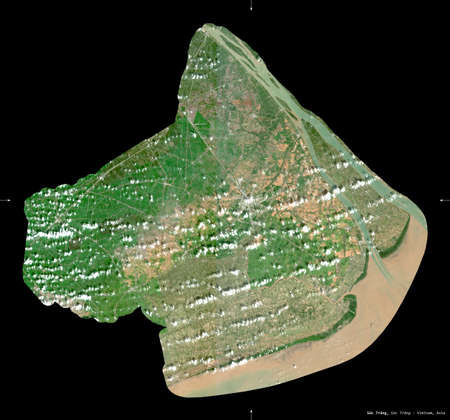 Soc Trang, province of Vietnam. Sentinel-2 satellite imagery. Shape isolated on black. Description, location of the capital. Contains modified Copernicus Sentinel data