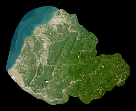 Miaoli, county of Taiwan. Sentinel-2 satellite imagery. Shape isolated on black. Description, location of the capital. Contains modified Copernicus Sentinel data