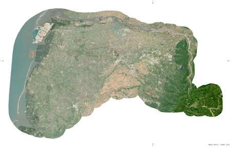 Yulin, county of Taiwan. Sentinel-2 satellite imagery. Shape isolated on white. Description, location of the capital. Contains modified Copernicus Sentinel data