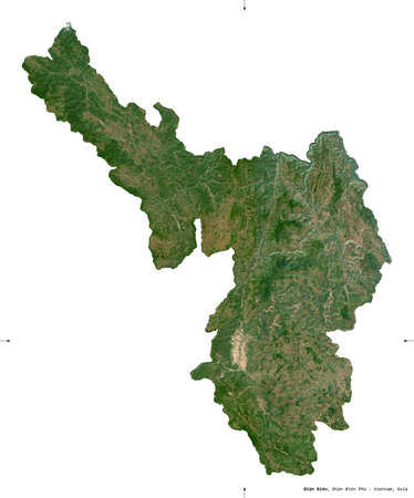 ien Bien, province of Vietnam. Sentinel-2 satellite imagery. Shape isolated on white. Description, location of the capital. Contains modified Copernicus Sentinel data