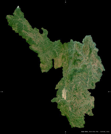 ien Bien, province of Vietnam. Sentinel-2 satellite imagery. Shape isolated on black. Description, location of the capital. Contains modified Copernicus Sentinel data Archivio Fotografico
