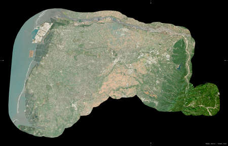 Yulin, county of Taiwan. Sentinel-2 satellite imagery. Shape isolated on black. Description, location of the capital. Contains modified Copernicus Sentinel data