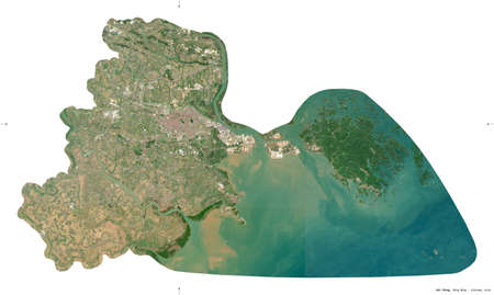 Hai Phong, city|municipality|thanh pho of Vietnam. Sentinel-2 satellite imagery. Shape isolated on white. Description, location of the capital. Contains modified Copernicus Sentinel data
