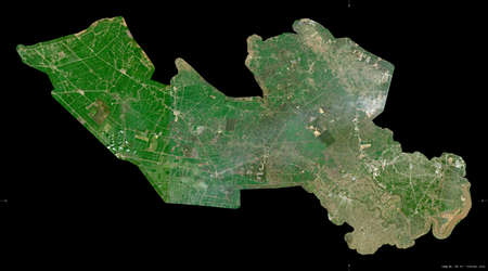 Long An, province of Vietnam. Sentinel-2 satellite imagery. Shape isolated on black. Description, location of the capital. Contains modified Copernicus Sentinel data