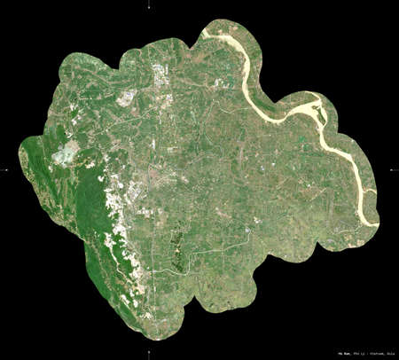 Ha Nam, province of Vietnam. Sentinel-2 satellite imagery. Shape isolated on black. Description, location of the capital. Contains modified Copernicus Sentinel data Archivio Fotografico