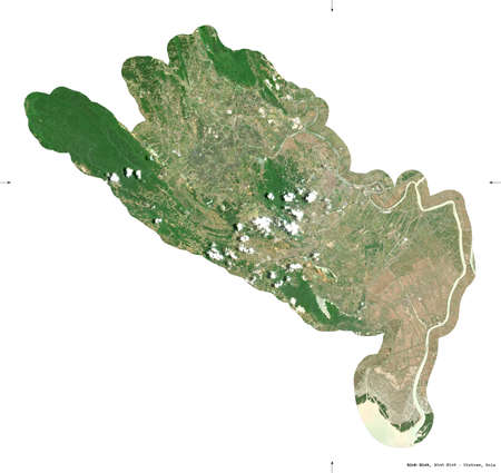 Ninh Binh, province of Vietnam. Sentinel-2 satellite imagery. Shape isolated on white. Description, location of the capital. Contains modified Copernicus Sentinel data Archivio Fotografico