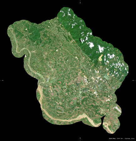 Vinh Phuc, province of Vietnam. Sentinel-2 satellite imagery. Shape isolated on black. Description, location of the capital. Contains modified Copernicus Sentinel data