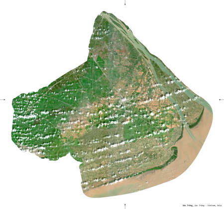 Soc Trang, province of Vietnam. Sentinel-2 satellite imagery. Shape isolated on white. Description, location of the capital. Contains modified Copernicus Sentinel data Archivio Fotografico