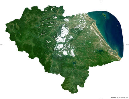Quang Nam, province of Vietnam. Sentinel-2 satellite imagery. Shape isolated on white. Description, location of the capital. Contains modified Copernicus Sentinel data