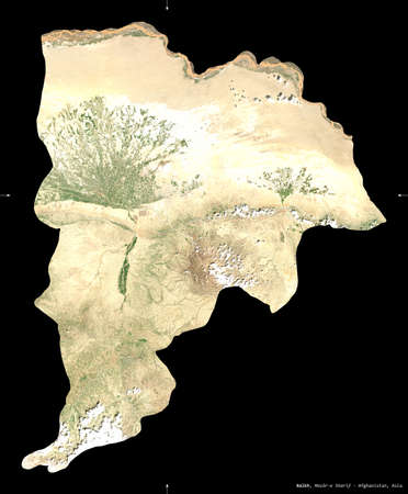 Balkh, province of Afghanistan. satellite imagery. Shape isolated on black. Description, location of the capital. Contains modified Copernicus Sentinel data