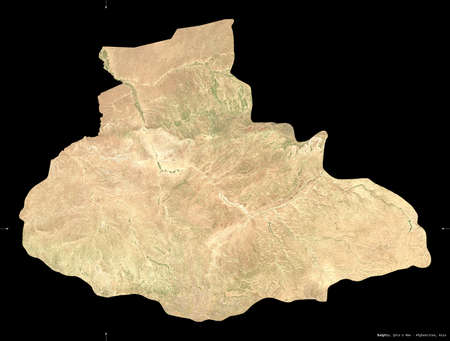 Badghis, province of Afghanistan.  satellite imagery. Shape isolated on black. Description, location of the capital. Contains modified Copernicus Sentinel data Archivio Fotografico