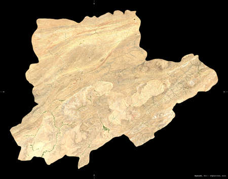 Daykundi, province of Afghanistan.  satellite imagery. Shape isolated on black. Description, location of the capital. Contains modified Copernicus Sentinel data