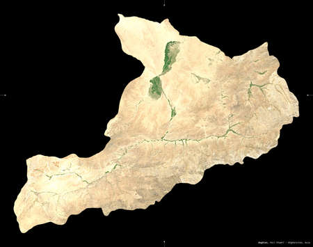 Baghlan, province of Afghanistan.  satellite imagery. Shape isolated on black. Description, location of the capital. Contains modified Copernicus Sentinel data