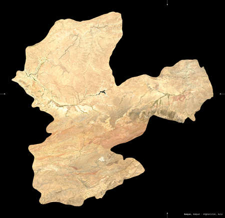 Bamyan, province of Afghanistan.  satellite imagery. Shape isolated on black. Description, location of the capital. Contains modified Copernicus Sentinel data Archivio Fotografico
