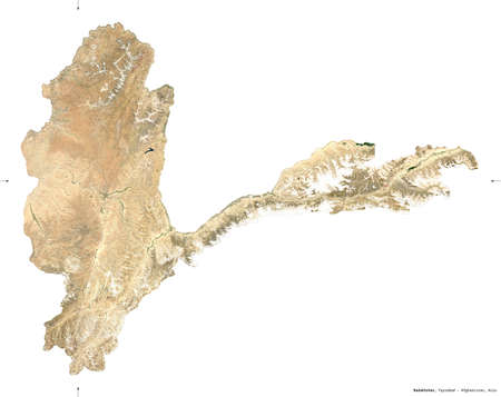 Badakhshan, province of Afghanistan.  satellite imagery. Shape isolated on white. Description, location of the capital. Contains modified Copernicus Sentinel data