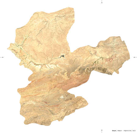 Bamyan, province of Afghanistan.  satellite imagery. Shape isolated on white. Description, location of the capital. Contains modified Copernicus Sentinel data