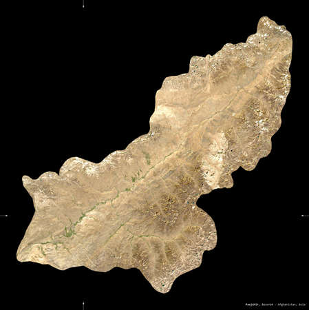 Panjshir, province of Afghanistan.  satellite imagery. Shape isolated on black. Description, location of the capital. Contains modified Copernicus Sentinel data