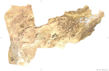 Farah, province of Afghanistan.  satellite imagery. Shape isolated on white. Description, location of the capital. Contains modified Copernicus Sentinel data