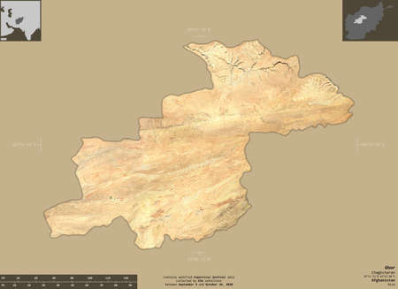 Ghor, province of Afghanistan.   satellite imagery. Shape isolated on solid background with informative overlays. Contains modified Copernicus Sentinel data Archivio Fotografico