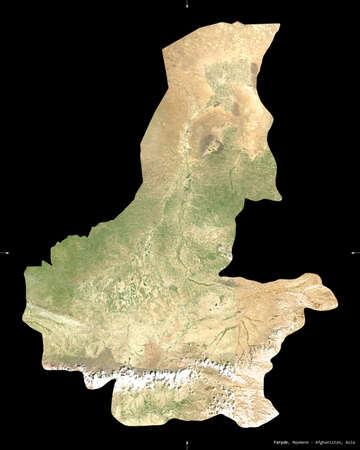 Faryab, province of Afghanistan.  satellite imagery. Shape isolated on black. Description, location of the capital. Contains modified Copernicus Sentinel data