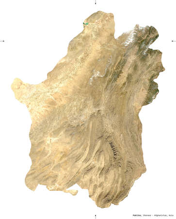 Paktika, province of Afghanistan.  satellite imagery. Shape isolated on white. Description, location of the capital. Contains modified Copernicus Sentinel data